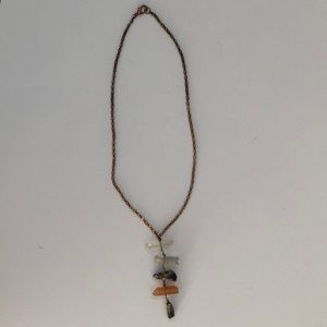 Women's Anthropologie multi crystal long Necklace